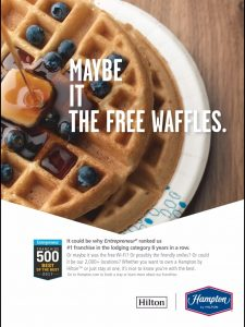 Maybe it the free waffles. Or maybe it's the missing 's.