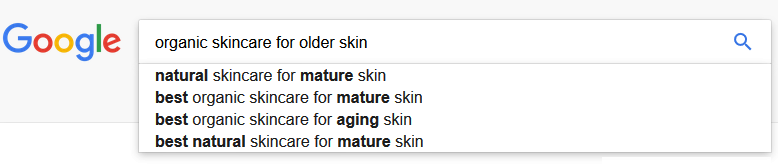 Using the search bar in Google for ideas