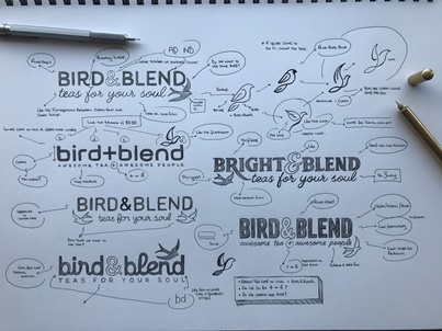 Bird & Blend rebranding sketches