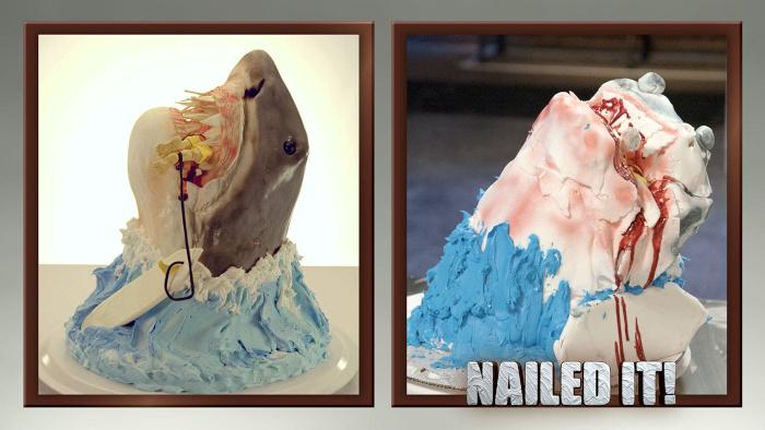 Netflix Nailed It and the art of the cake fail. Image shows two versions of a shark cake eating a surfer.