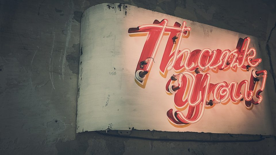 Say thank you to everyone, on a regular basis. Image shows the words thank you in neon