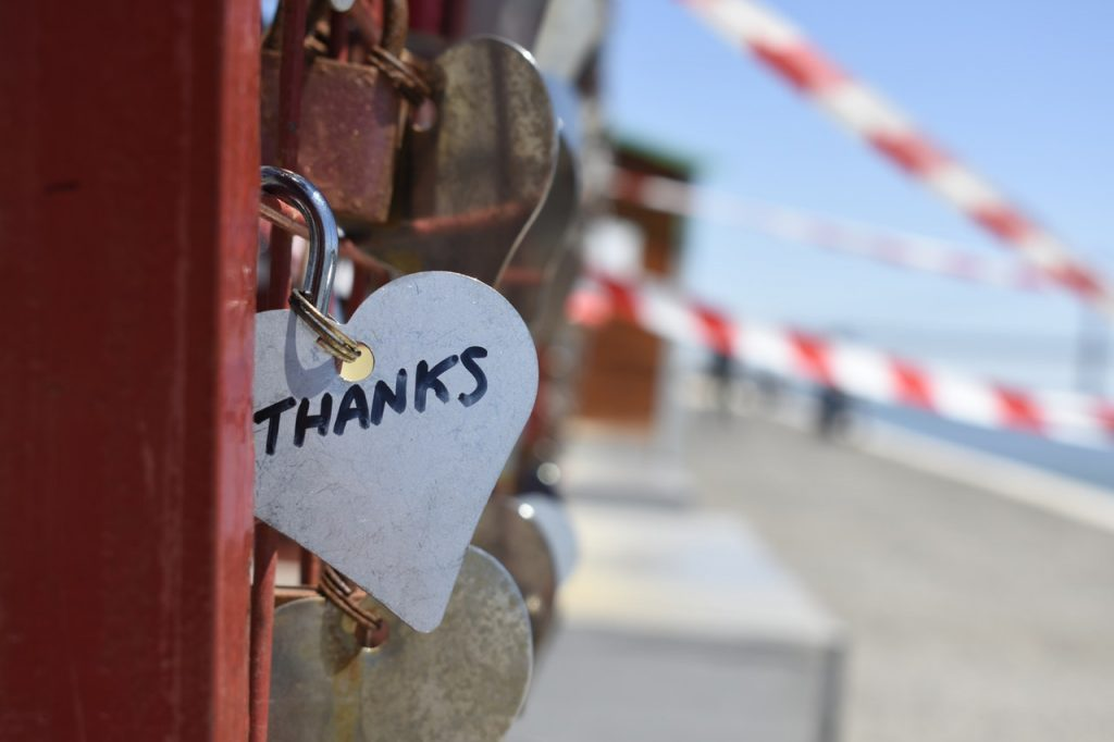 "Why it's important to say thank you. Image shows a heart with the word ""thanks"" on it."