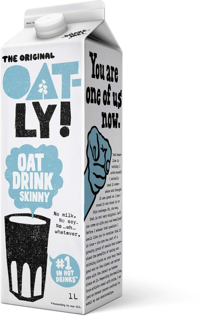 Oatly packaging - milk alternatives with a story to tell