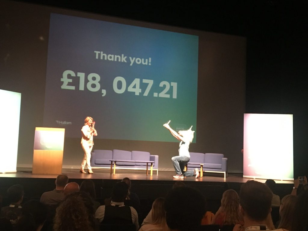 When you need to believe in unicorns: fundraising at Nottingham Digital Summit. Image shows the final amount raised for Nottingham Samaritans £18,047