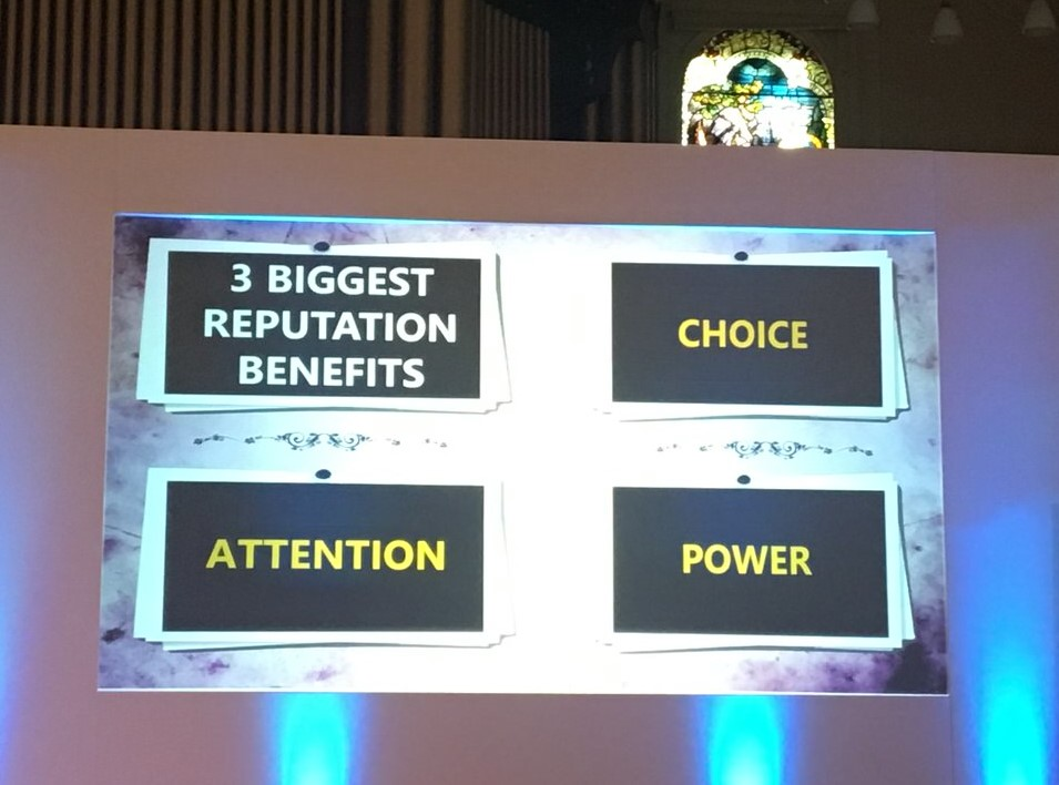 What does reputation buy you? Image shows 3 benefits of your reputation: choice, attention, power