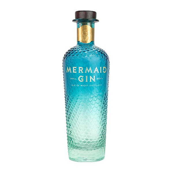 Mermaid gin new design bottle in shades of blue