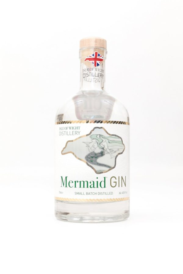 Original Mermaid Gin bottle with Isle of Wight logo