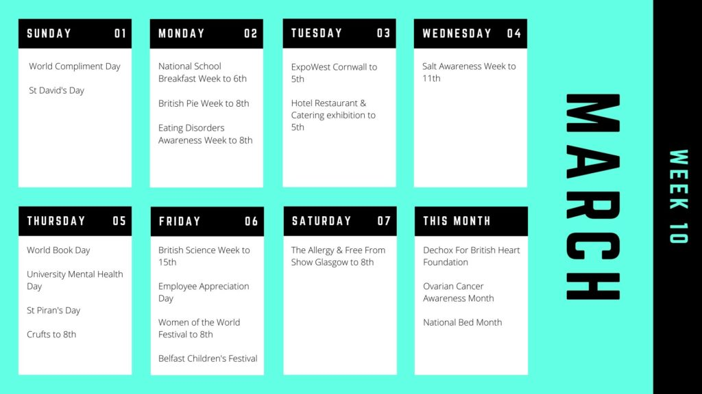 The 2020 Awareness Days Calendar for Food & Drink Businesses