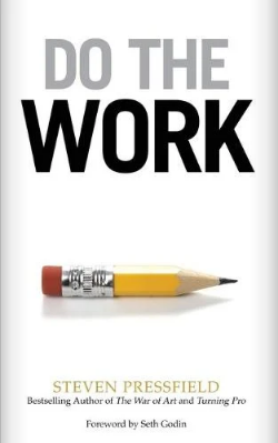 Image shows the cover of the book Do The Work. The photo is of a yellow lead pencil, quite worn down, with an eraser on the end