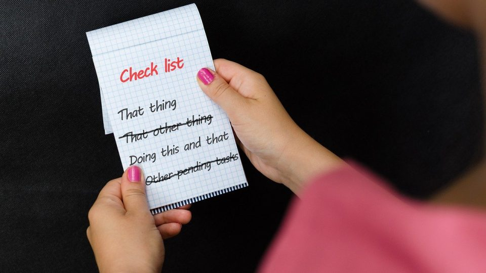 Image shows a checklist of things to do. How do you prioritise content when you're busy.