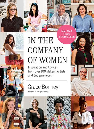 "Book cover of ""In The Company of Women"" which has photos of different women around a central white title panel"
