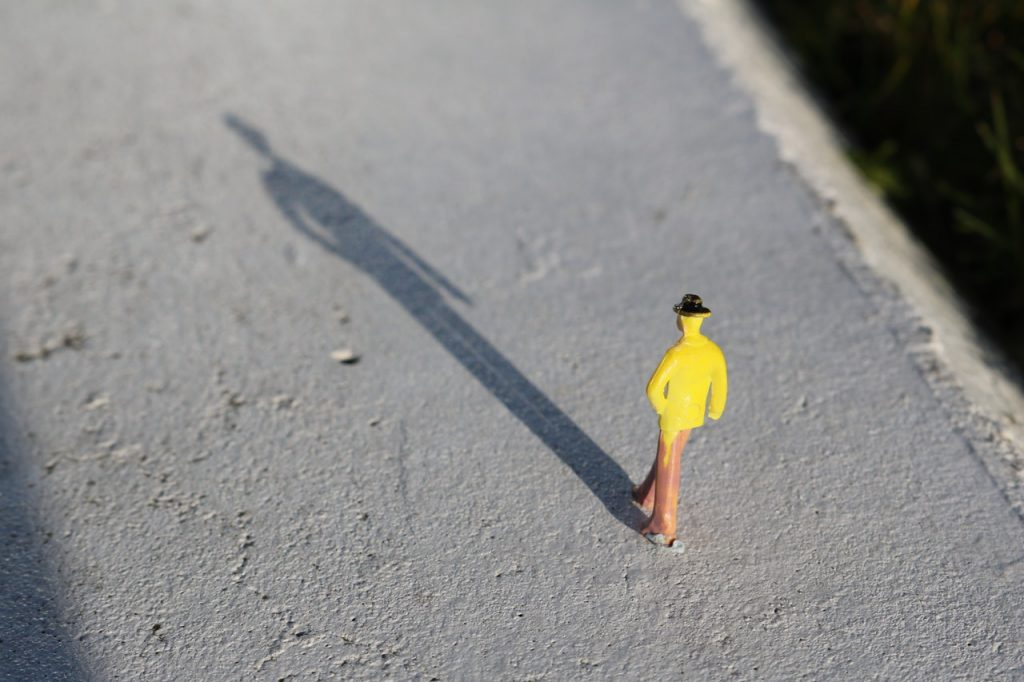 Image shows a small figure in a yellow jacket with a long shadow in front of them. You don't just collect stories about the big things but the small things as well.