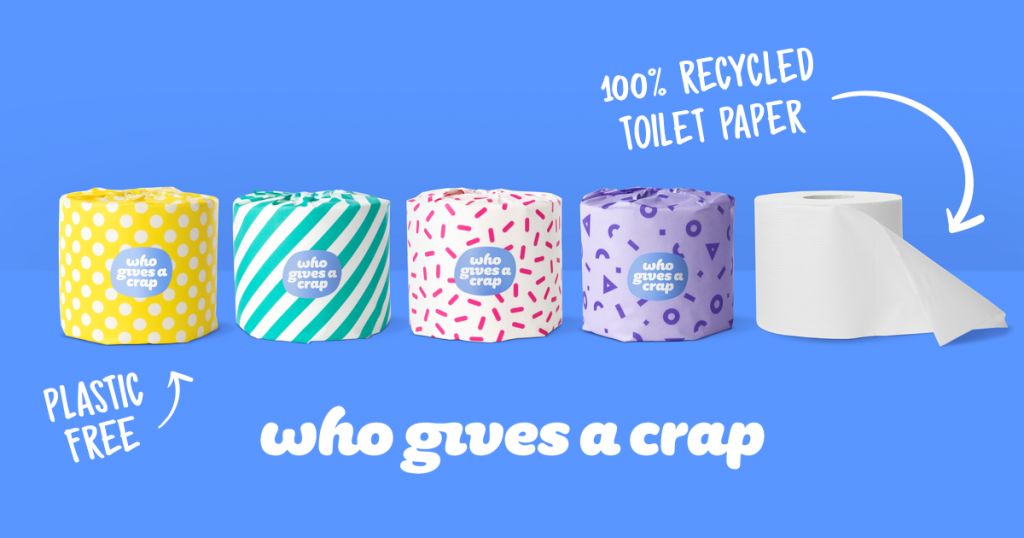Image shows toilet paper from Who Gives a Crap.