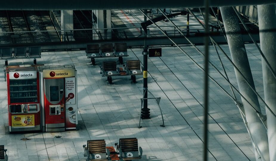 Image shows an empty transport concourse. Entrepreneur tales from lockdown