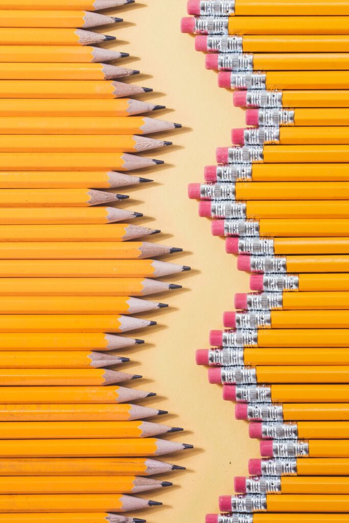 Image shows a zigzag pattern of yellow pencils